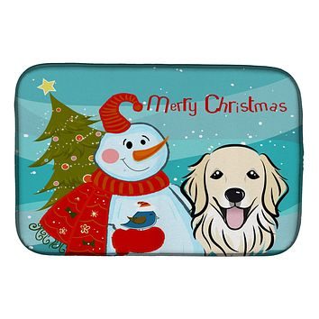 Snowman with Golden Retriever Dish Drying Mat BB1825DDM