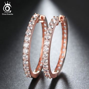 ORSA JEWELS 2017 Rose Gold Color Big Hoop Earring Paved Luxury AAA Cubic Zirconia Fashion Women Round Loop CZ Earrings OE143