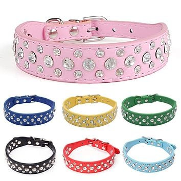 Pet Puppy Cat Dog Rhinestone Faux Leather Adjustable Neck Strap Buckle Collar