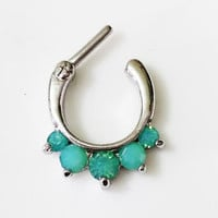New Opalized CZ 5 Gem 16 Gauge Septum Clicker 316L Steel -FREE RETAINER
