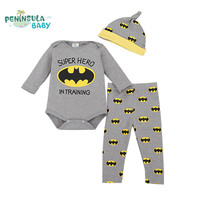 Cartoon Baby Clothing Sets 3Pcs Long Sleeve Rompers+Pants+Hats Newborn Infant Costume Cotton Boys Girls Jumpsuits Sets