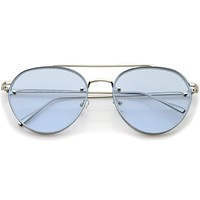 Retro Modern Rimless Flat Color Lens Aviator Sunglasses A826