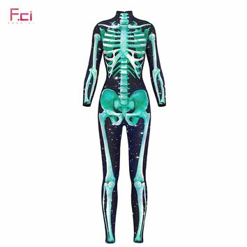 FRECICI 3D Printe Green Skeleton Halloween Women Jumpsuit Turtleneck Unitard Long Sleeve Back Zipper Skinny Catsuit Jumpsuit