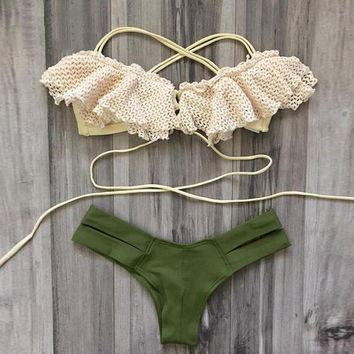 Summer Sexy Hot Beach Swimsuit New Arrival Swimwear Lace Green Bikini [7954272006]