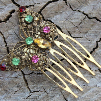Vintage Gold and Rhinestone Butterfly Hair Comb