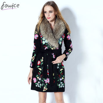 Runway 2016 Women Autumn Winter Brand Designer Nagymaros Collar Warm Full Sleeve Flowers Embroidery Wool Coat With Blet
