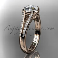 """14kt rose gold diamond unique engagement ring, wedding ring with a """"Forever Brilliant"""" Moissanite center stone ADER108"""