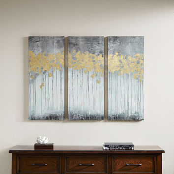 Madison Park Grey Forest Grey Gel Coat Canvas with Gold Foil Embellishment 3-piece Set | Overstock.com Shopping - The Best Deals on Gallery Wrapped Canvas