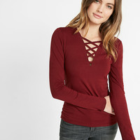 strappy long sleeve v neck tee