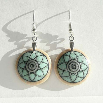 Light Mint Green Earrings, Hand Painted Jewelry,  Dangle Earrings Wood, Wooden Craft, Art meets Craft