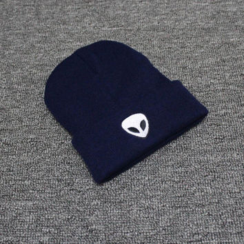 Autumn Winter Knitted Beanie Womens & Mens Alien Embroidery Wool Cap Solid Blue Colored Cuffed Skully Hat