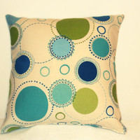"Pillow Covers 18"" Set of Two - Blue and Green Circle Pattern"