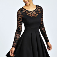 Annabelle Lace Detail Box Pleat Skater Dress