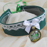 Slytherin and proud - green and black harry potter fandom inspired choker necklace with pendant - lolita kitten pet play collar