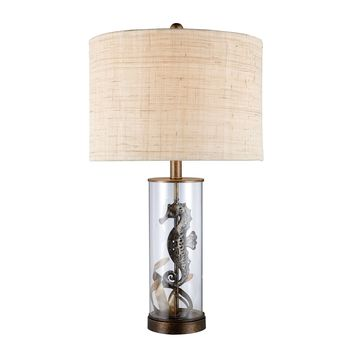 D1980 Largo Table Lamp In Bronze And Clear Glass With Natural Linen Shade - Free Shipping!