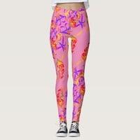 Chic Multicolor floral pattern soft pink Leggings