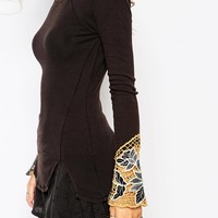 Free People Thermal Layering Top With Crochet Cuff Detail