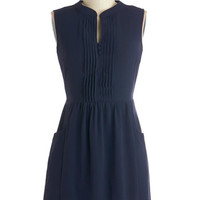 Sleeveless A-line Sipping Punch Dress in Navy