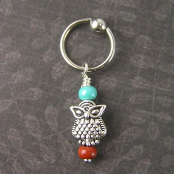 Small Owl Captive Ring Cartilage Hoop 14g 16g Conch Helix Navel Belly Button Ring Nipple Ear Piercing Jewelry cbr Southwestern Red Blue