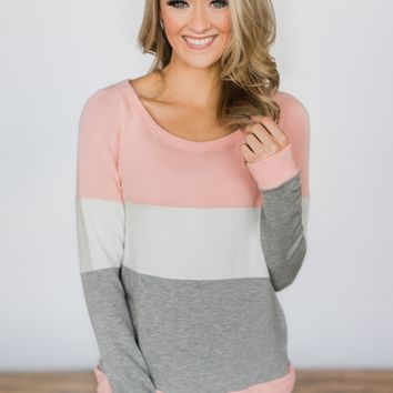 Color Block Cutie Long Sleeve Top - Pink