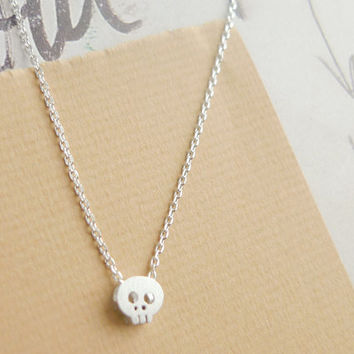 tiny silver skull necklace by LemonTreeLand on Etsy
