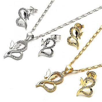 Gold Layered Earring and Pendant Adult Set, Heart and Butterfly Design, with Cubic Zirconia, Golden Tone