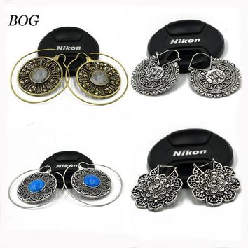 ac DCCKO2Q BOG-Pair Brass Tribal Indian Spiral Mandala Lotus Flower Earrings Hoop  piercing Charming  Ear Tunnel Plug Piercing Body Jewelry