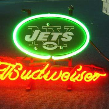 Custom Business NEON SIGN board For  NEW YORK NY JETS FOOTBALL GLASS Tube BEER BAR PUB Club Shop Light Signs 17*14""