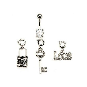 14g 7/16 WildKlass Navel with Lock, Key and Love in Gem interchangeable spring rings Dangle Charms
