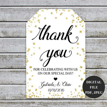 Thank You Tag, Wedding Thank You Tags Gift Tags Wedding Favor Baby Shower Thank You Favor Tags Printable, Wedding Printable, PDF JPEG (V35)