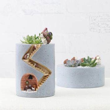 Creative Zakka Resin Ornament Decoration Cute Hedgehog Succulent Plants Flowerpot  Nursery Pots Garden Micro-landscape Decor