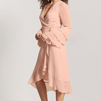 Teardrop Jacquard Wrap Dress