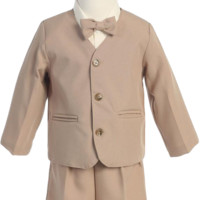 Khaki Tan Eton Jacket & Shorts Outfit 4 Pc Suit (Baby or Toddler Boys)