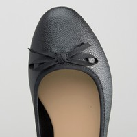 New Look Wide Fit Leather Look Ballet Pump at asos.com