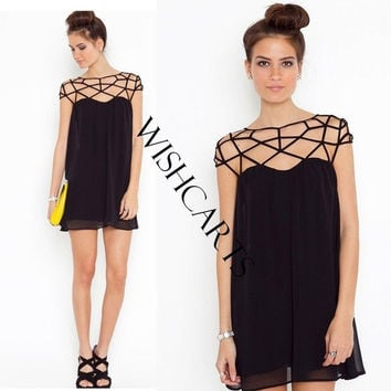 Women's Casual Dresses Black Hollow Out Design Sweet Chiffon Novelty Dress SV001354 = 5617687809