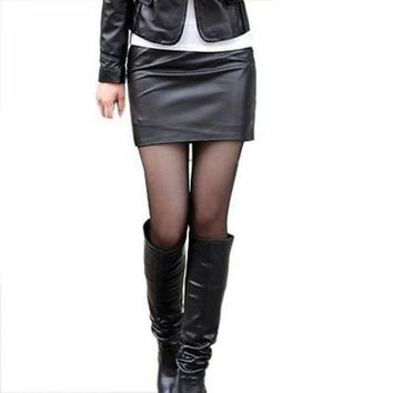 DCCKUN6 New 2015 fashion Women Faux Leather Bodycon skirts High Waisted Female Pencil Skirt Womens