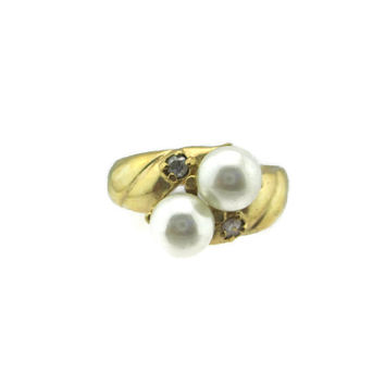 Vintage 14k HGE Gold Faux Pearl Austrian Crystal  Ring Size 9.25
