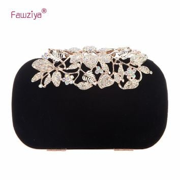 Fawziya Flower Velvet Crystal Clutches Purses For Women Bags