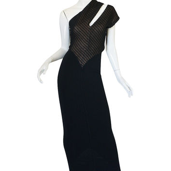 "Very Rare 1989 Azzedine Alaia One Shoulder ""Slashed"" Dress"
