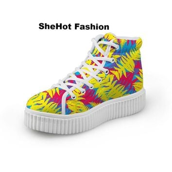 Women Casual Mixed Color Leaves Print High Top Platform Sneakers