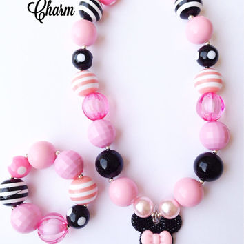 Toddler or Girls Minnie Mouse Sparkly Chunky Bubblegum Necklace