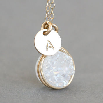 Sparkling White Druzy Personalized Initial Pendant Necklace