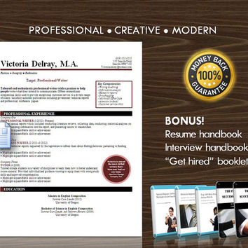 Resume Template / CV Template for MS Word / Professional and Modern Resume Design / Instant Digital Download / Mac or PC / Resume Handbook14