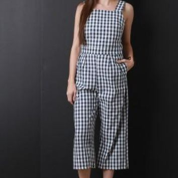 Gingham Crop Palazzo Jumpsuit