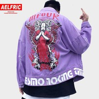AELFRIC 2018 Autumn Devil Printed Denim Jean Tactical Jacket Punk Ripped Jackets Coats Men Hip Hop Casual Distressed Jeans AP32