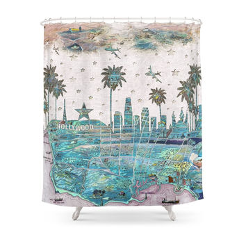 Society6 Los Angeles Skyline Vintage Map Shower Curtains