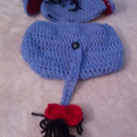Crochet infant Eeyore inspired hat and diaper cover set - crochet baby costume- crochet custom baby outfit -  baby photo prop outfit