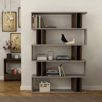 Elias Light Mocha & Dark Brown Bookcase