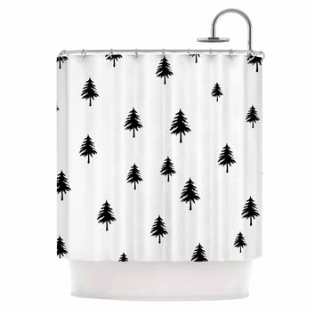 "Suzanne Carter ""Pine Tree"" Black White Shower Curtain - Outlet Item"