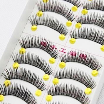 10Pair Black False Eyelashes Handmade Cotton Thick 3D Eye Lashes Beauty Thread Cross Messy Nature Long Fake Eyelash Makeup Tools